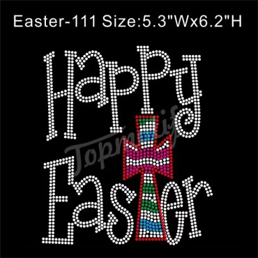 Happy Easter Iron On Appliques For Sale Cross Rhinestone Decals Custom