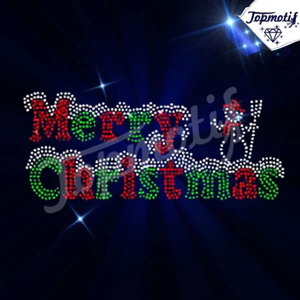 Hotfix Strass Motif Merry Christmas Letters Iron On Rhinestone Transfer Wholesale