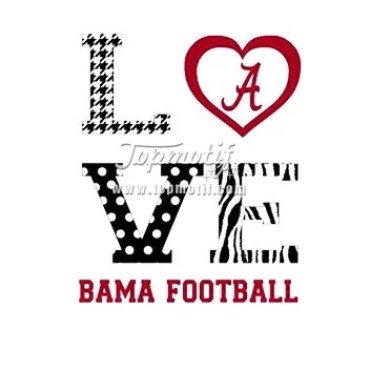 football tshirt custom love Alabama Hotfix Transfer Vinyl Decal