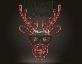 Holiday design rhinestone Christmas reindeer hot fix transfers