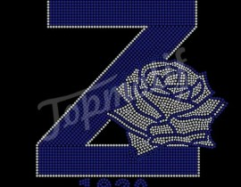 Rhinestone Rose Transfer Heat Applique Zeta Phi Beta