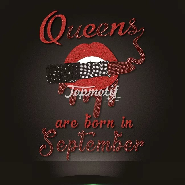 wholesale queens are born in September glitter motif