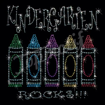 Colored pencils kindergarten rocks hot fix embellishments