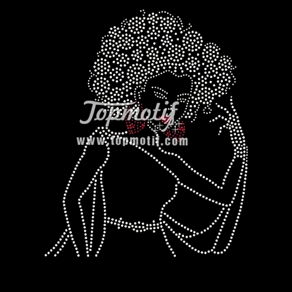 iron on decals for shirts afro girl rhinestone appliques
