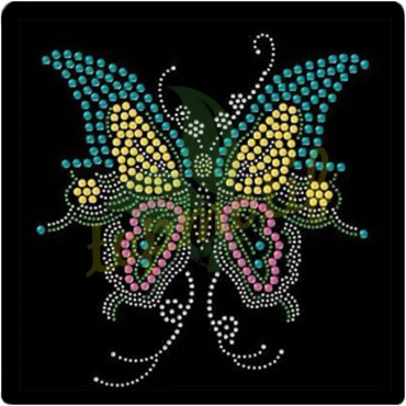 Custom Butterfly Rhinestone Iron on transfers For clothing embellishment