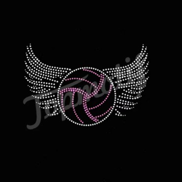 Wings with volleyball rhinestone heat transfer