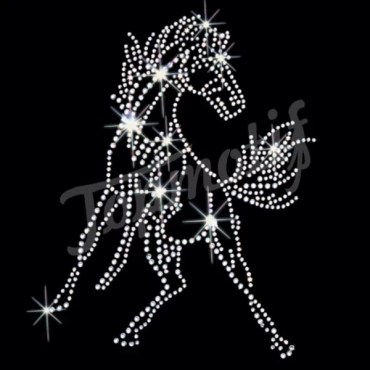 Elegant horse rhinestone iron on transfer design