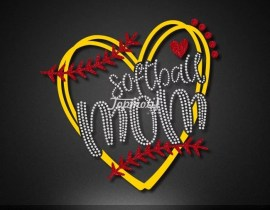 Iron on glitter love softball mom heat transfer for shirt