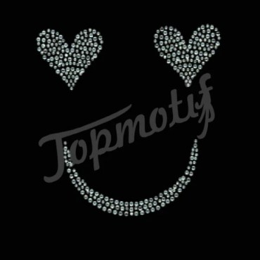 Heart eyes smile face rhinestone transfers patterns for dresses
