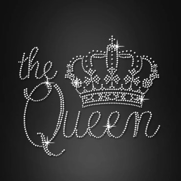 the queen motifs strass crown heat press transfer designs