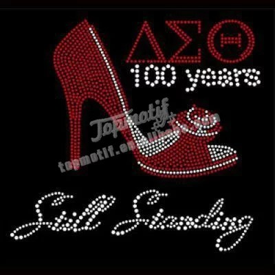 iron on rhinestone transfer delta sigma theta with high heels shoes