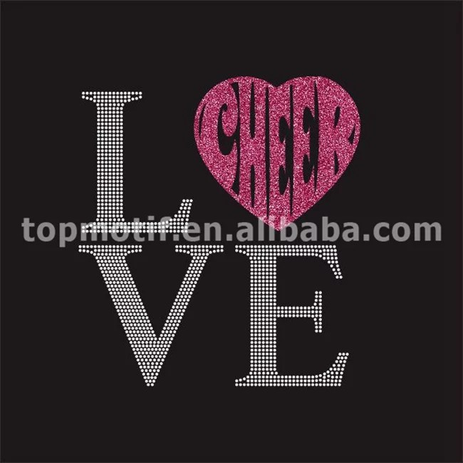 hot fix crystals love cheer iron on decals for shirts