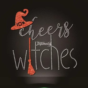 Various design rhinestone cheers witches hotfix transfers
