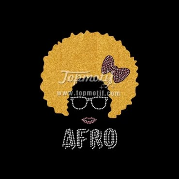 Bling shirt for Afro Girl glitter material iron on rhinestone appliques
