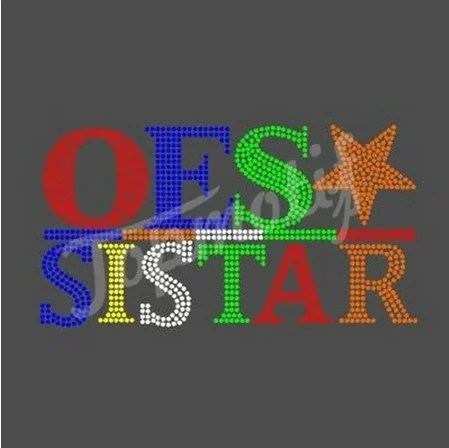 OES Sister Iron On Rhinestone Transfers Wholesale Eastern Star