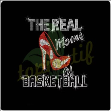 Crystal The Real Moms Basketball Sports Rhinestone Iron On Transfers Hot Fix Appliques