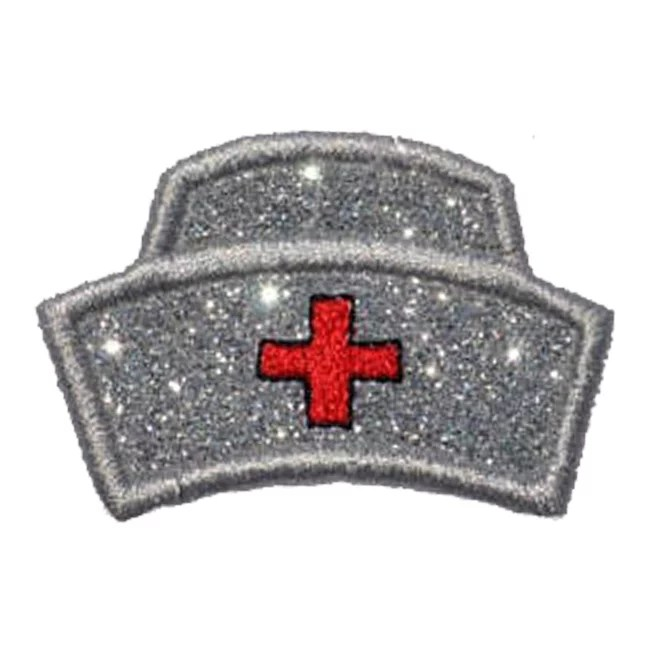 Nurses Hat Silver Vinyl with a Red Cross Sparkle Glitter Patch