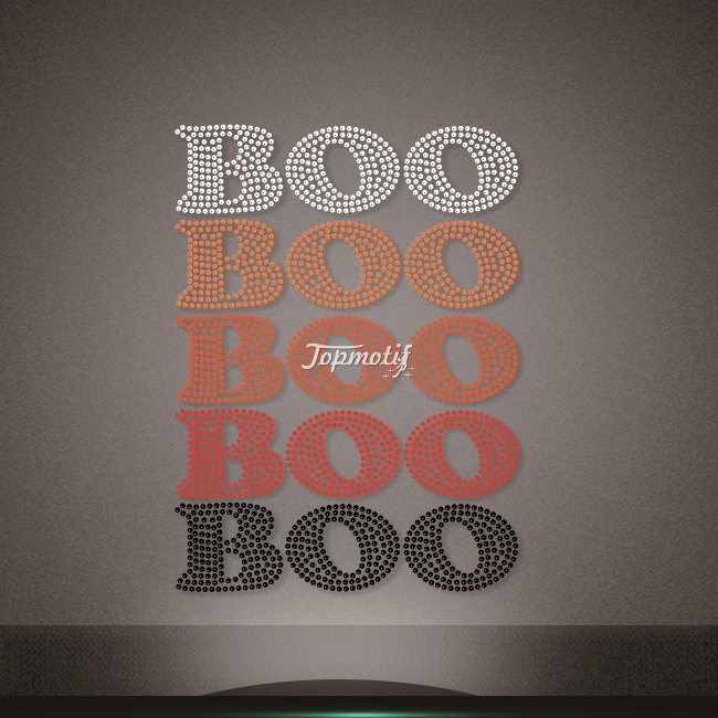Several color rhinestone boo iron on heat transfers for t shirts
