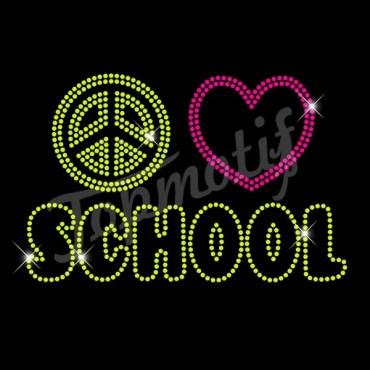 Hot Fix Designs Peace Love School Crystal Rhinestone Professional Supplier