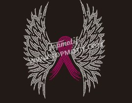 Bling Breast Cancer Pink Ribbon Rhinestone Iron on Transfer Wholesale