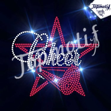 wholesale star with cheer motif iron on rhinestone transfer appliques