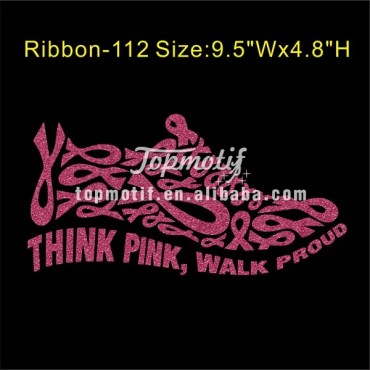Glitter Motif Think Pink Walk Proud Custom Heat Transfers No Minimum