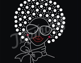 Silver Nailhead Hair Afro Girls Rhinestone Transfers Designs