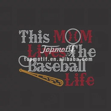 created in rhinestones this mom lives the baseball life stone transfers wholesale