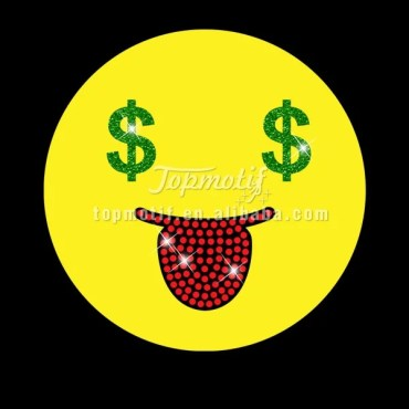 Custom Lovely love money smiling face rhinestone vinyl transfer
