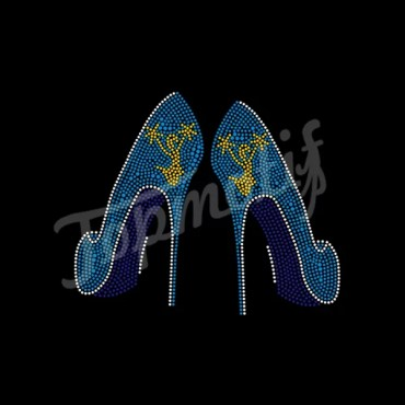 New design High heel with cheerlady iron on rhinestone transfers