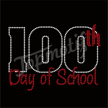 Hot Fix Metal Studs 100Th Day Of School Rhinestone Transfer Motif
