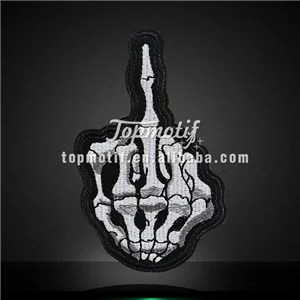Skull Finger Embroidery Patches Iron on Appliques Garments