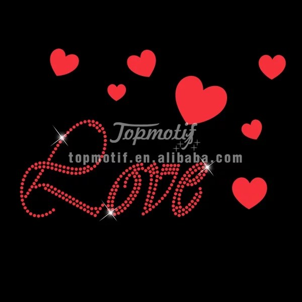 Custom love rhinestone vinyl transfer for  Valentine day