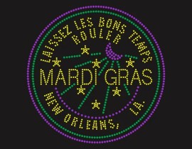 Mardi Gras New Orleans Rhinestone Iron on Transfer Tshirt
