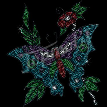 Butterfly with flower rhinestone iron on transfers for T shirts transfer