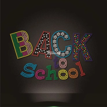 Various color rhinestone back to school word heat transfers