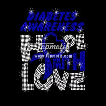 Hot Fix Rhinestone Motif Custom Design Hope Faith Love