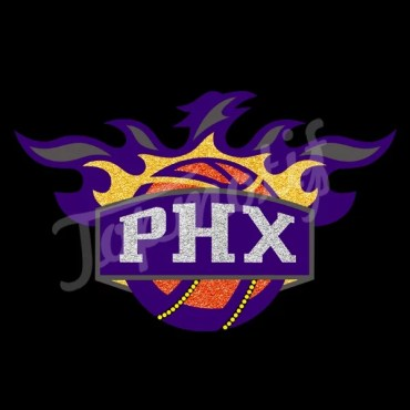 PHX Basketball Glitter Vinyl Iron On Decals