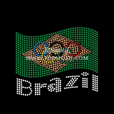 Hot Fix Brazil Olympic Circle Flag Iron on Rhinestone Transfer
