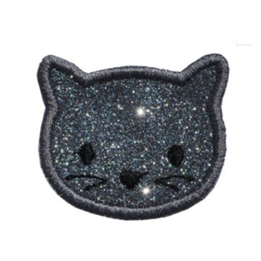 wholesale cute cat embroidery heat Sparkle Glitter transfer patches