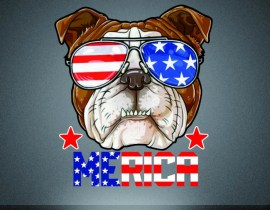 Printable vinyl 4th of July motif heat press bulldog transfer