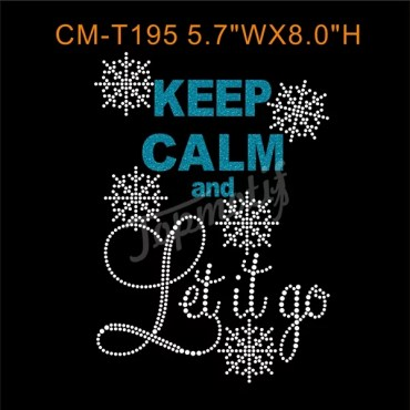Keep Calm And Let It Go Heat Transfers Wholesale Rhinestone Appliques
