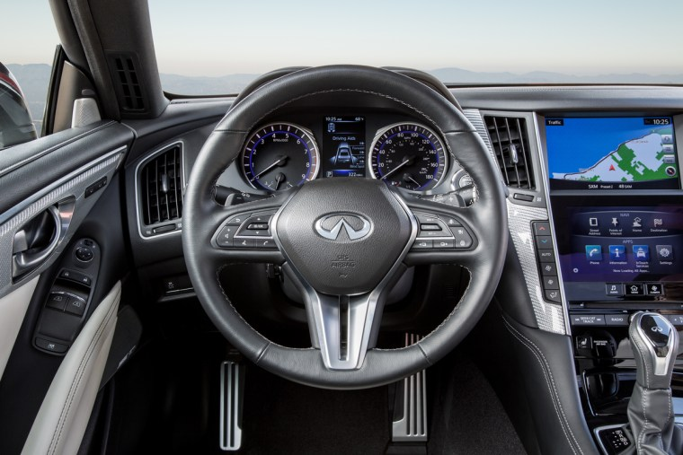 The Q60 brings INFINITI's powerful design language into the sports coupe segment with remarkable success, with its daring curves, deep creases, and flowing lines intensifying its low, wide, powerful stance. The look is progressive and modern, yet dynamic and moving.