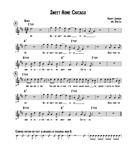 Songbook for solo guitar · sweet home chicago · cross roads blues (crossroads) · ramblin 'on my mind · from four until late · me and the devil blues · child hearted. Sweet Home Chicago Music Sheet Download Topmusicsheet Com