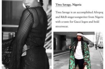 Tiwa Savage Features in Vogue Magazine's 10 World Most Stylish Celebrities On IG