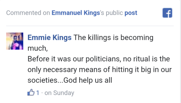 Victor Ad's Wetin We Gain is The Cause Of Increased Ritual Killings In Nigeria - Facebook User Claims