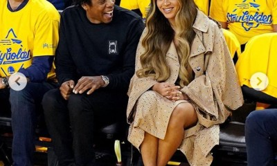 Beyonce and Jay-Z sit courtside at NBA finals last night