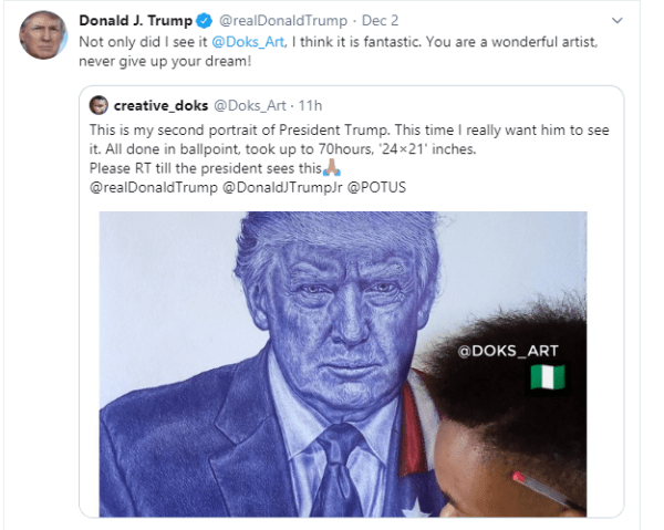 Check out Donald Trump's reaction to Nigerian artist's portrait of him