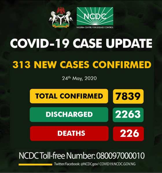 NCDC announces 313 new cases as total infections surges to 7,389