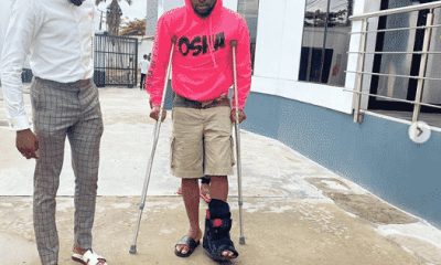 Davido starts the month of June with crutches